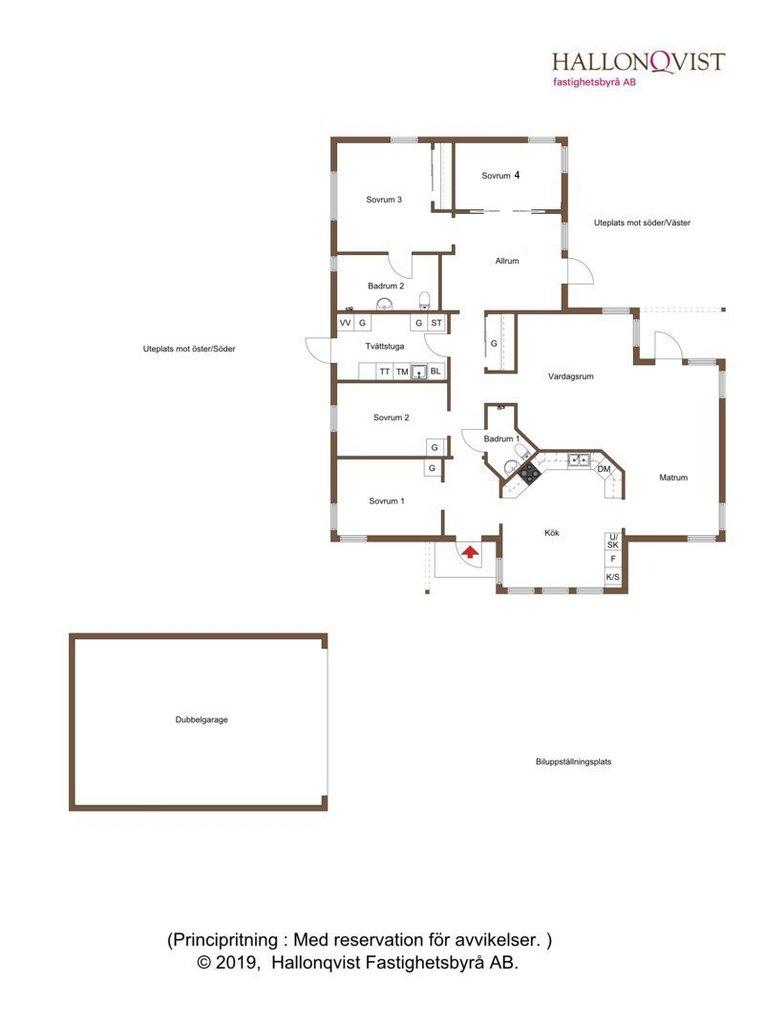 Planritning - Förslag till ombyggnation för att skapa sovrum 4