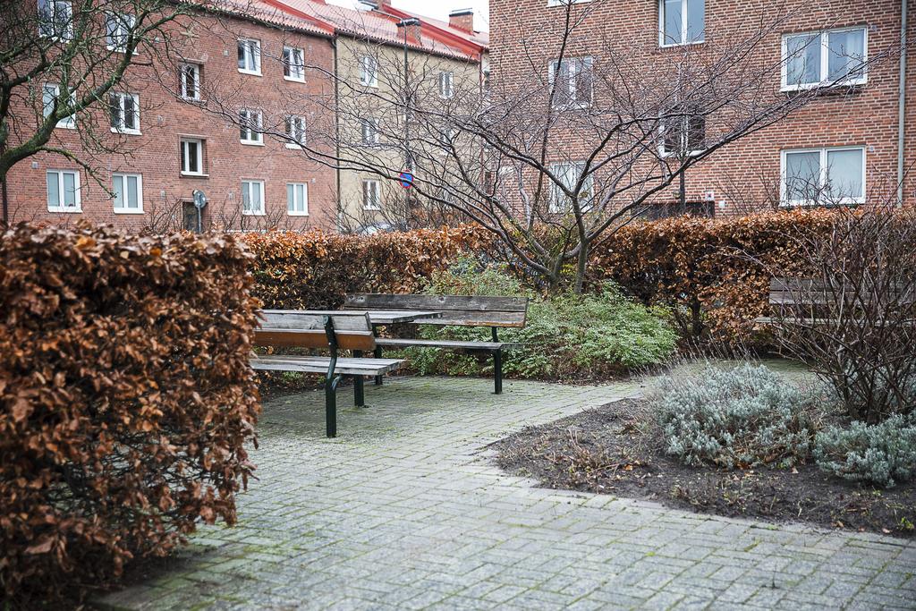 Välvårdat grönområde, med sittplatser