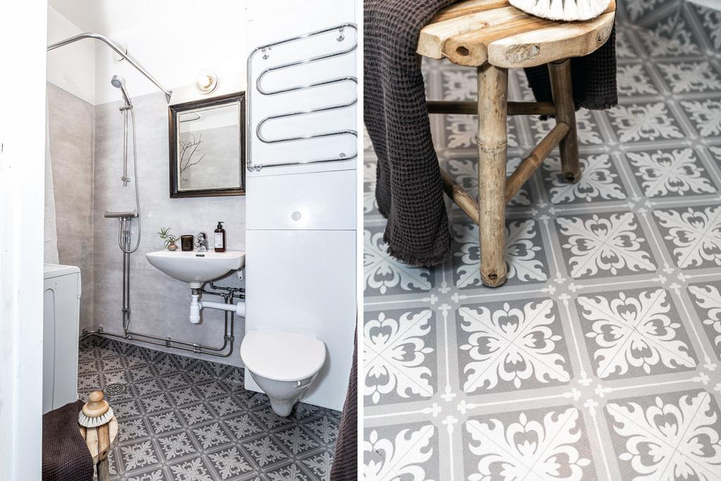 Fina detaljer i badrum med egen tvättmaskin