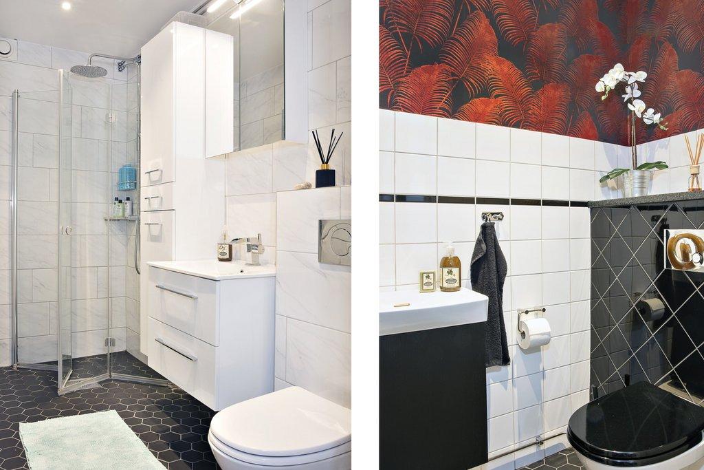 Badrum och gästtoalett med tvättpelare